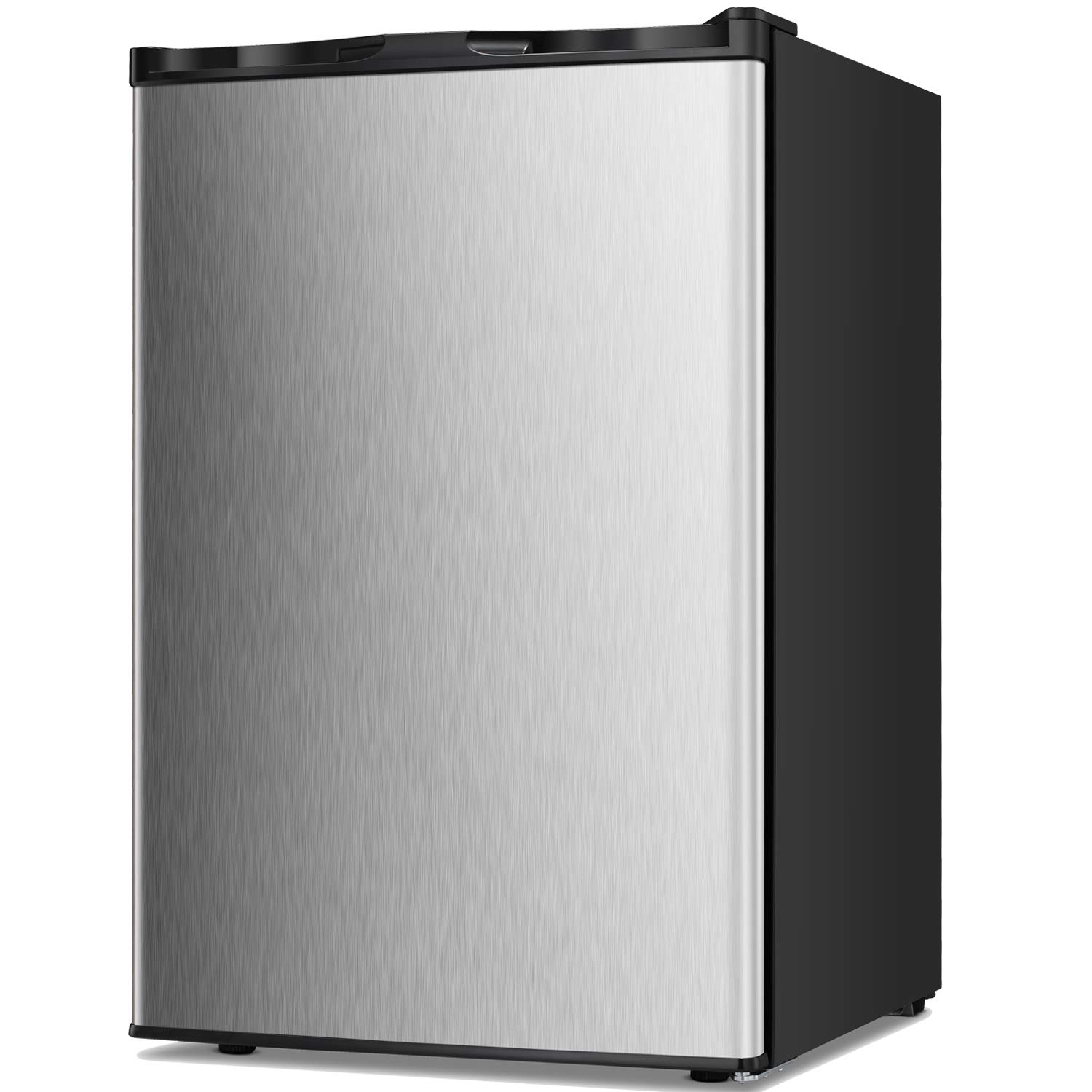 TAVATA Compact Upright Freezer Single Door Reversible Stainless Steel Door, Compact Adjustable Removable Shelves for Home Office (Silver, 3.0 cu.ft)