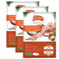 Foot Peel Mask 3 Pack, Coconut Exfoliating Foot Masks, Natural Exfoliator for Dry Dead Skin, Callus, Repair Rough Heels for Men Women