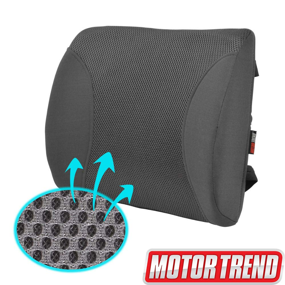 Motor Trend MeshBreeze Lumbar Support Pillow for Car, Gray – Orthopedic Seat Cushion, Helps Relieve Lower Back Pain, Great for Office Chairs