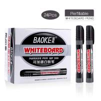 BAOKE Erasable Whiteboard Markers, Dry Erase Whiteboard Marker Pens with Low-Odor Ink, Perfect Whiteboard Pens for School, Office, or Home, Pack of 24Pcs, MP399 (BLACK)