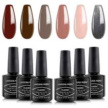 Lagunamoon UV/LED Gel Nail Polish Set - Classic Elegant Colors Soak Off Nail Polish 6pcs 8ml Each