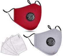 2 Pack Unisex Washable Reusable Cotton Face Madks W/Valve-Filter C_over, GB