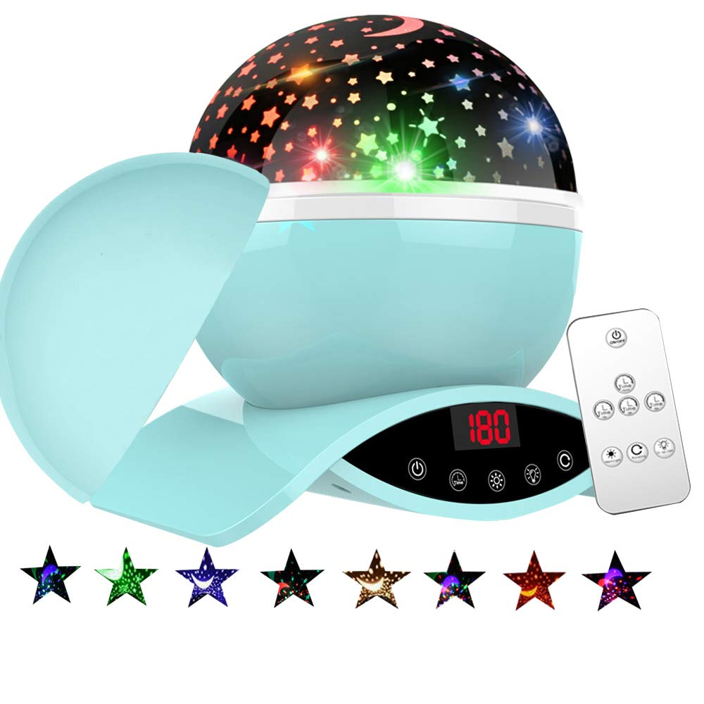 Baby Star Night Light Projector, Bizzerinc Newest Colorful Lights with USB Cable, Remote Control and Timer Design Projection Lamp, Best Gifts for Children Kids Birthday, Parties, Christmas.(Green)