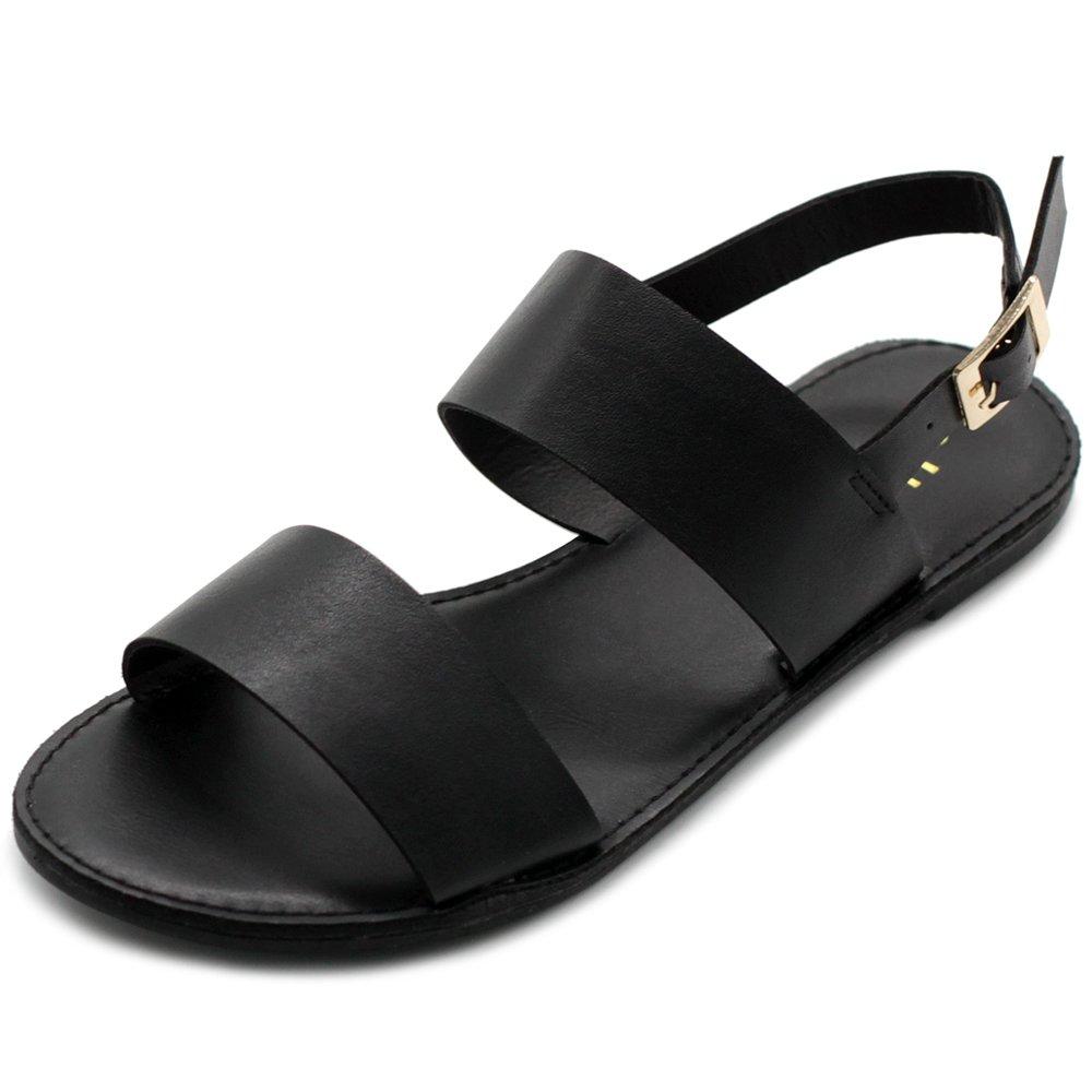 Ollio Women's Shoe Two Strap Sling Back Flat Sandals