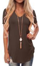 Womens Causal Summer T-Shirt Short Sleeve Tops V Neck Blouse Shirts