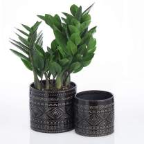 """Voeveca Ceramic Flower Pot Garden Planters 4.5"""" and 5.5"""" Set of 2 Indoor Outdoor, Modern Nordic Style Plant Containers (Black)"""