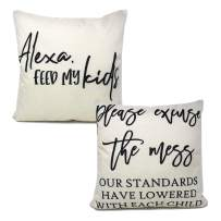 The Southern Jarring Co. Decorative Throw Pillow Covers - 18x18 Cushion Cases for Couch or Bed - Inserts NOT Included - (Alexa Feed My Kids/Please Excuse The Mess, 2-Pack)