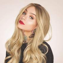 HEAHAIR Natural Looking Wigs Ombre Ash Blonde Synthetic Lace Front Wigs Long Wavy Hair HS3009