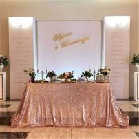 SoarDream Rose Gold Sequin Tablecloth 60x102 inch Rectangular Table Overlays for Wedding Birthday Outdoor Decorations