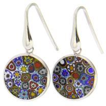 "Millefiori Glass Round Dangle Earrings""Multicolor"" Flower - Silver - Murano Glass Fashion Earrings For Women"