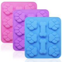 3 Pcs Silicone Molds Puppy Dog Paw & Bone Shaped 2 in 1, 8-Cavity, FineGood Reusable Ice Candy Trays Chocolate Cookies Baking Pans, Oven Microwave Freezer Dishwasher Safe-Pink, Blue, Purple