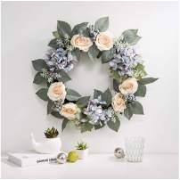 "Glitzhome 22"" D Flower Wreath Artificial Hydrangea Rose Wreath Door Wreath Realistic Spring Wreath for Front Door Wedding Window Wall Home Decor"
