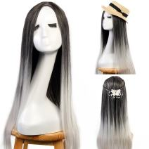 "3-5 Days Delivery Full Head Hair Extension Neverland Beauty 24"" Ombre Two Tone Synthetic Long Straight Heat Resistant Cosplay Wig with Wig Cap Black Grey to Light Grey"