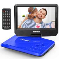 """TENKER 9.5"""" Portable DVD Player with Swivel Screen, Rechargeable Battery and SD Card Slot & USB Port, Blue"""