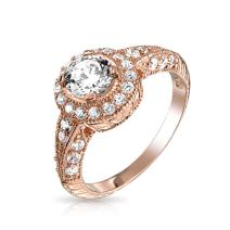 Vintage Style 1CT Milgrain Brilliant Solitaire Halo AAA CZ Pave Band Sterling Silver Rose Gold Plated Engagement Ring