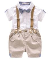 Kids Baby Boys Summer Gentleman Bowtie Short Sleeve Shirt+Suspenders Shorts Set