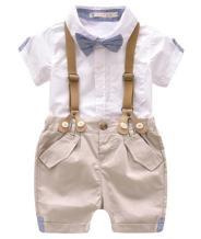 Kids Baby Boys Summer Gentleman Bowtie Short Sleeve Shirt+Suspenders Shorts Set