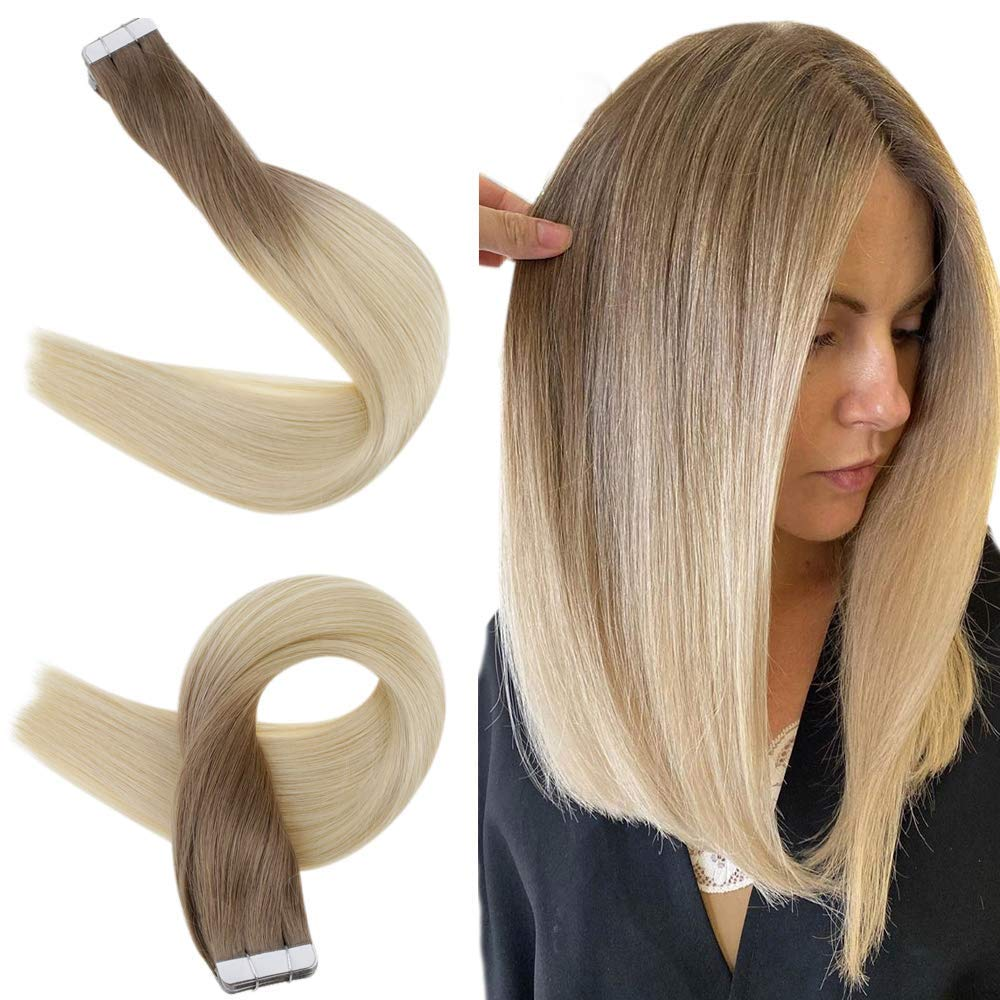 """Easyouth 22"""" 50g Remy Human Hair Tape in Hair Extensions Ombre Color 6T613 Medium Brown Fading to Bleach Blonde 20pcs/pack Long Straight Hair Seamless Skin Weft Glue in Hairpieces Balayage"""
