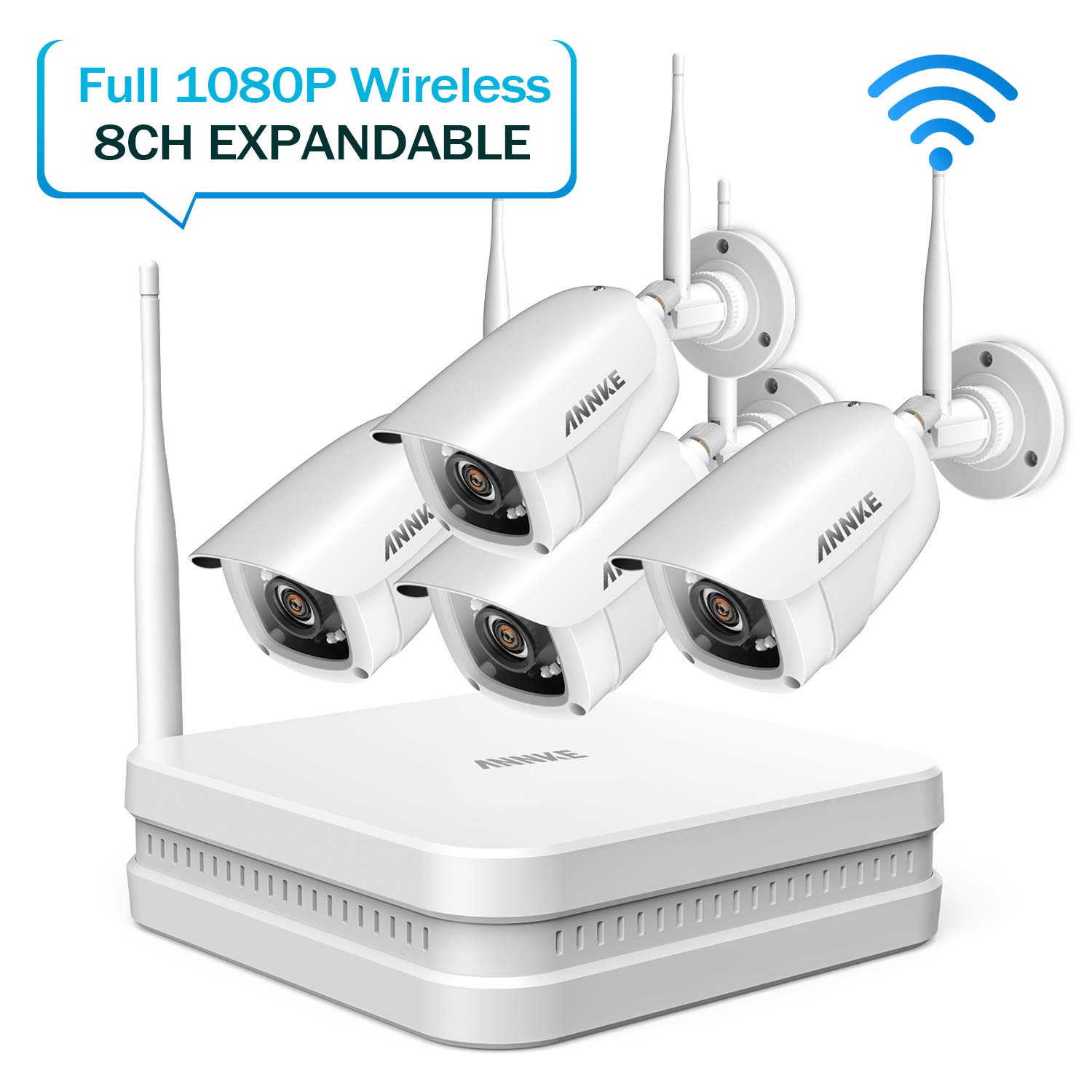 ANNKE Wireless Security Camera System- Full HD 1080P 8CH Wi-Fi NVR Video Surveillance System, 4×1080P Outdoor Bullet IP Cameras with Smart IR and 100ft Night Vision, Remote Access,NO Hard Drive