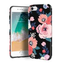 CUSTYPE Case for iPhone SE, iPhone 7 Case for Girls & Women, Floral Series Watercolor Camellia Flower Pattern Design PC Leather with TPU Bumper Slim Protective Cover for iPhone 8/ iPhone 7 (4.7'')