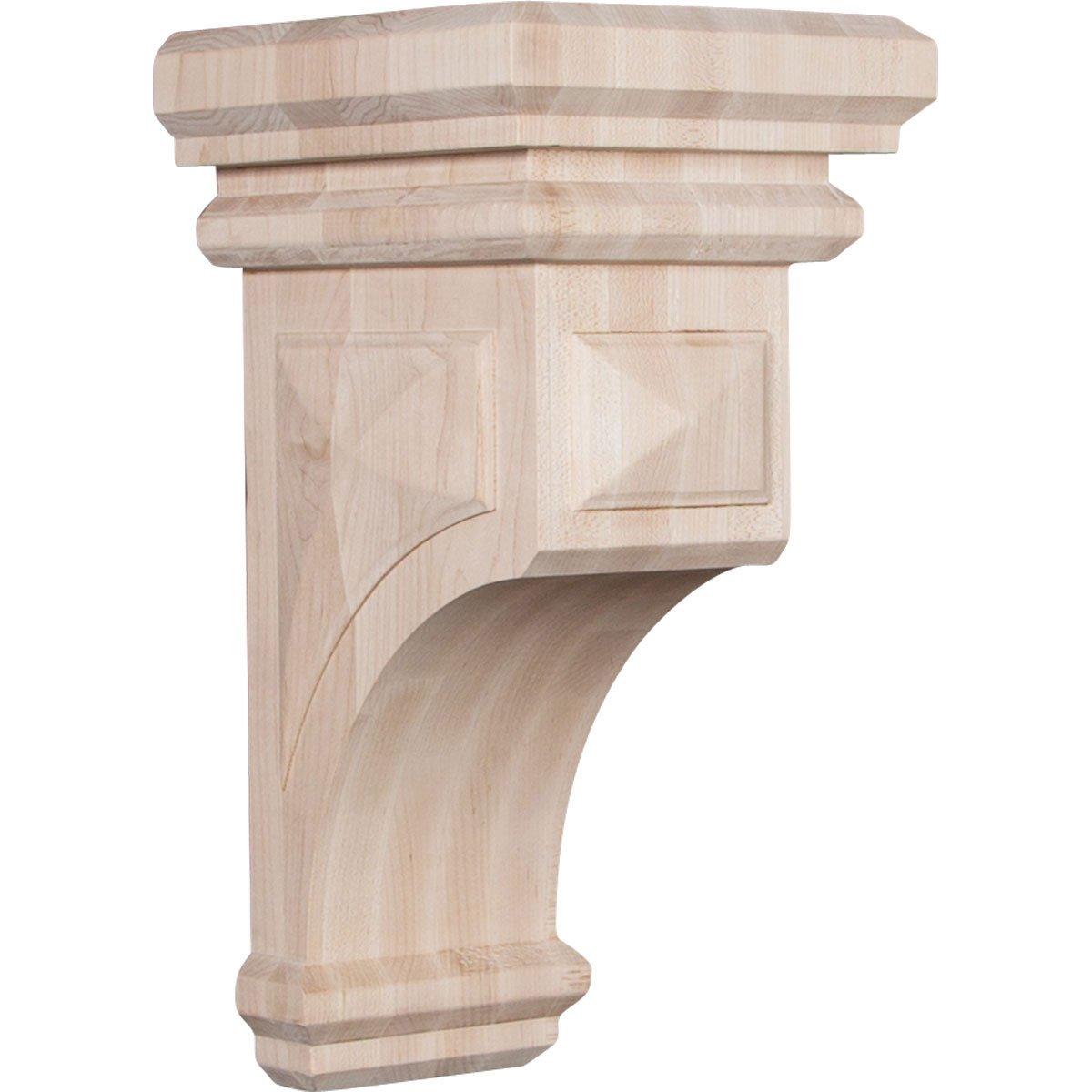 """Ekena Millwork CORW07X07X14WFRW Wood Corbel, 7""""W x 7 3/4""""D x 14""""H, Rubberwood"""