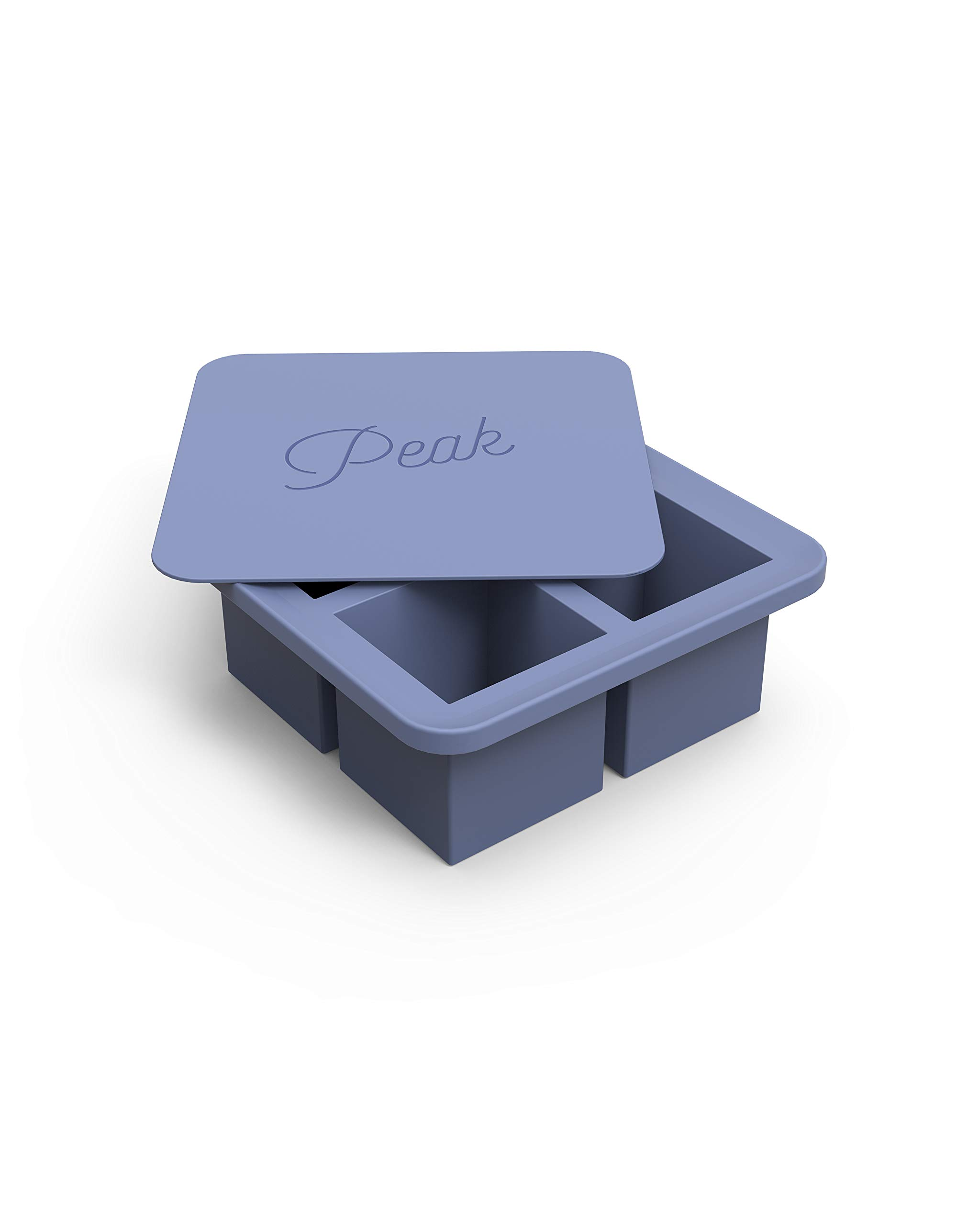 W&P Peak Silicone Extra Large Cube Ice Tray w/ Protective Lid | Blue Peak | Easy to Remove Ice Cubes | Food Grade Premium Silicone | Dishwasher Safe, BPA Free