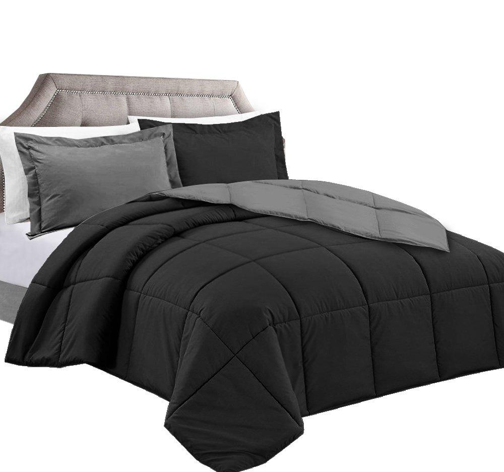 Clara Clark 3-Piece Goose Down Alternative Reversible Comforter Set, Full/Queen, Black/Gray
