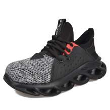 JACKSHIBO Steel Toe Shoes Work Shoes Men Women Lightweight Slip Resistant Breathable Industructible Construction Shoes Safety Sneaker Shoes