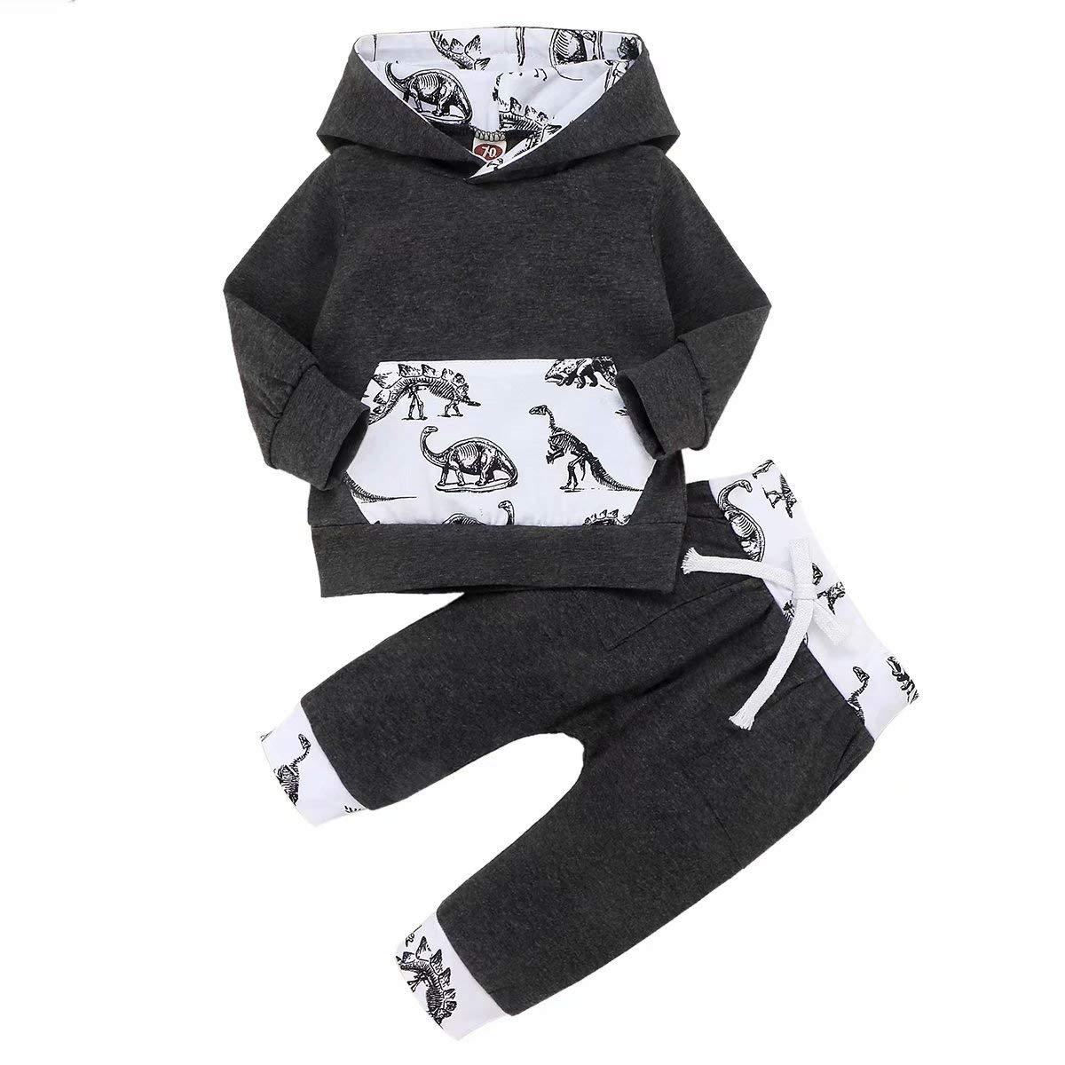 Baby Boy Clothes Dinosaur Newborn Sweatsuit Cotton Pocket Tops Pant 0-36 Months