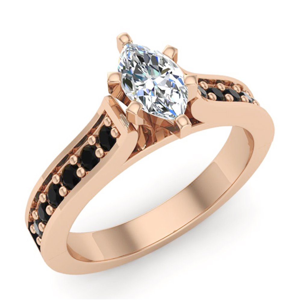 Marquise cut Diamond Engagement rings Black diamond rings Gift ring box Authenticity cards 3/4 carat t.w. (G, I1)