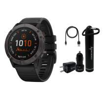 Garmin Fenix 6X Premium Multisport GPS Watches with Pulse OX, Routable Maps and Music with Included Wearable4U Power Pack Bundle (PRO Solar, Titanium Carbon Gray DLC with Black Band)