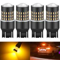 KATUR 7440 7443 7444NA 7441 7444 992 Led Light Bulb High Power 3014 54 Chipsets Super Bright 650 Lumens Replace for Turn Signal Back Up Reverse Brake Tail Stop Parking RV Lights,Amber(Pack of 4)