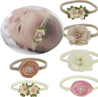 Qandsweet Baby Headbands Nylon Band with Hand Sewing Beads Flower 6 Pack