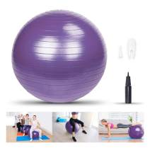LIXOTO Anti-Burst and Slip Resistant Exercise Ball Yoga Ball,75cm 1200g Extra Thick Fitness Ball Anti-Burst Heavy Duty Stability Ball Supports 2200lbs, Balance Ball with Quick Pump,Purple