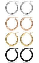 FIBO STEEL 4 Pairs 4 Colors Stainless Steel Small Hoop Earrings for Women Huggie Earrings 10MM-25MM