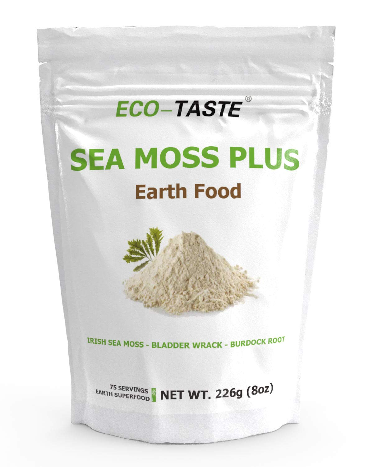 Irish Sea Moss Earth Food 8 Ounces, Blend with Bladderwrack and Burdock Root Powder, Wildcrafted Alkaline Supplement