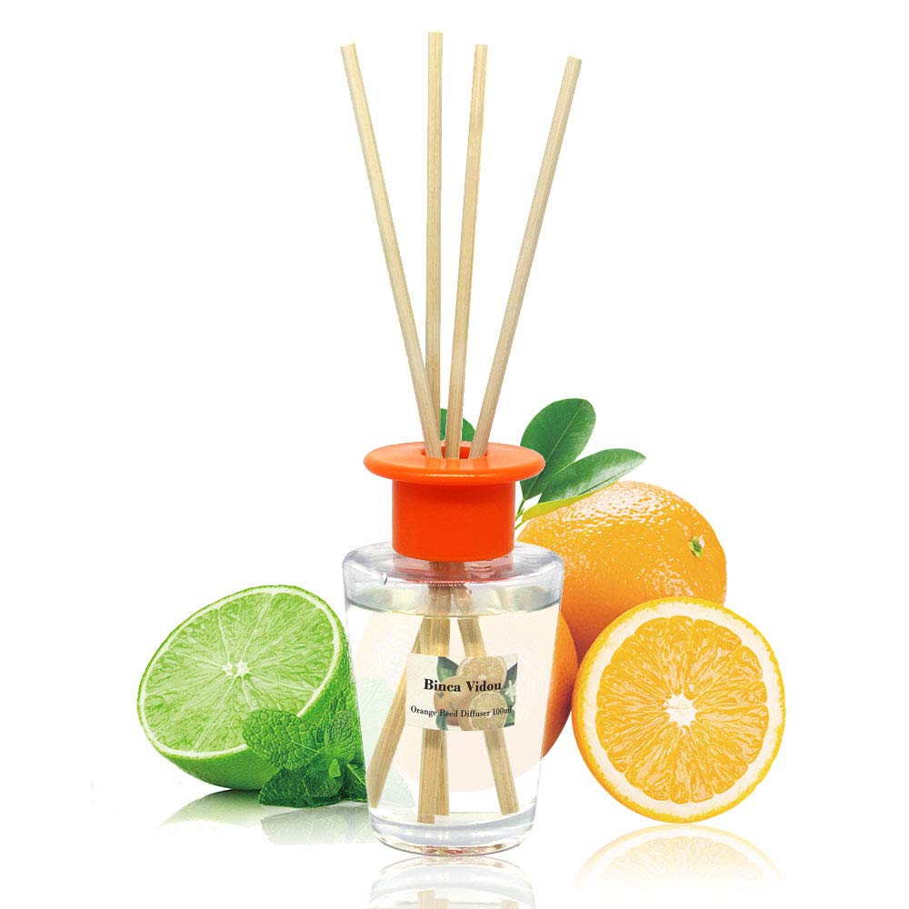 binca vidou Orange and Lemon Reed Diffuser Set, Citrus Reed Diffusers Gift Set with 6 Natural Rattan Reeds for Home, Bathroom, Office Organic Air Freshener 100ml/3.4oz