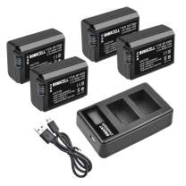 Bonacell NP-FW50 Battery(4 Pack) and LCD Dual Charger Compatible with Sony Alpha a3000, a6300, a6000, DSC-RX10 IV, a7s, a7, a7s ii, a7r ii, a5100, a5000, a7r, a7 ii etc Digital Camera