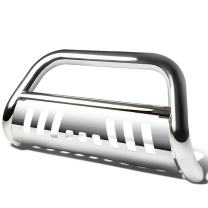 Replacement for Chevy Suburban/Tahoe/Escalade GMT900 3 inches Bumper Push Bull Bar+Removable Skid Plate (Chrome)