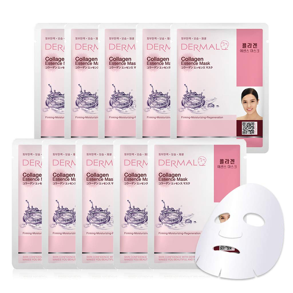 DERMAL Collagen Essence Facial Mask Sheet 23g Pack of 10 - Moisturizing & Firming, Anti Wrinkle, For Healthy Dewy Skin, Daily Skin Treatment Solution Sheet Mask