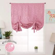 Star Pink Blackout Valance Curtains Girls Tie Up Shades Room Darkening Thermal Insulated Rod Pocket Window Valances Drapes and Curtains for Girls Bedroom Kitchen Nursery Living Room, 46x63inch Long