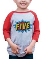 7 ate 9 Apparel Boy's Birthday Five Superhero Red Raglan