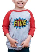 7 ate 9 Apparel Boy's Birthday Five Superhero Red Raglan