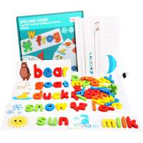 HCFGS See Spelling Learning Toy Sight Word Matching Letters Puzzle Game Wooden ABC Montessori Preschool Educational Developmental Gift Toy for Kids Girls Boys(28 Double-Side Cards & 52 Alphabet Block)