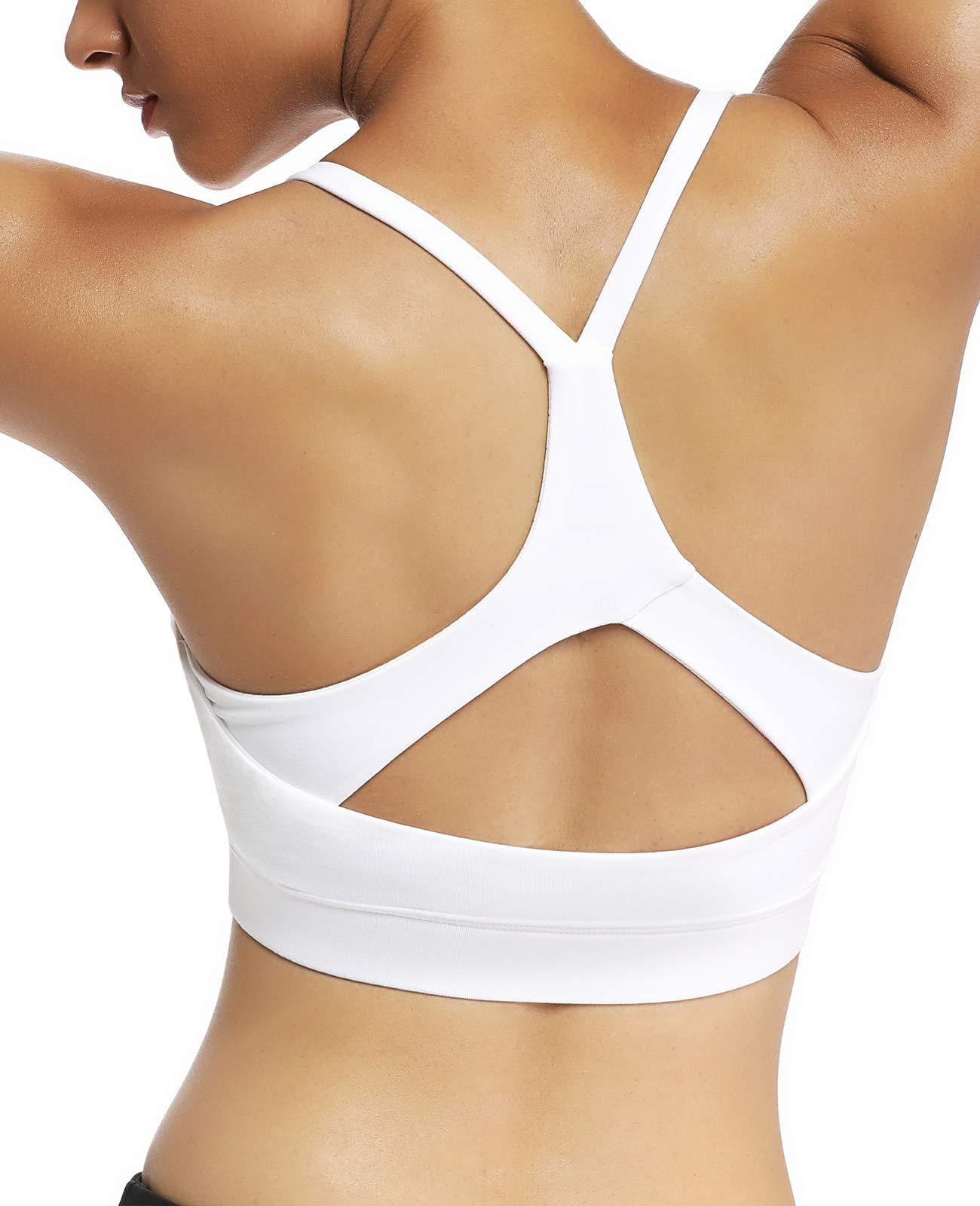 ifeolo Padded Strappy Sports Bra for Women Cross Back Medium Support Workout Running Yoga Bra