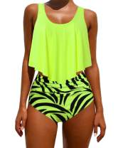 OMKAGI Women's Ruffle Bikini Swimsuit High Waisted Bottom Plus Size Swimwear Tankini