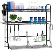 Over The Sink Dish Drying Rack, Ace Teah Dish Rack 2 Tier Above Sink Dish Drying Rack with Utensil Holder Hooks, Black