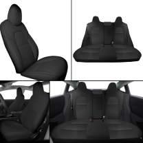 Interior Pro Model 3 Car Seat Cover, Seats Cushions PU Leather Custom for Tesla Model 3 2016-2019 All Season 5-Seat Protectors Pad Mat Leatherette Airbag Waterproof Wear-Proof Anti-Slip (Black)