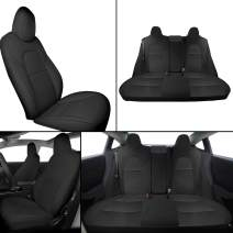 Interior Pro Model 3 Car Seat Cover, Seats Cushions PU Leather Custom for Tesla Model 3 2016-2019 All Season 5-Seat Protectors Pad Mat Leatherette Airbag Waterproof Wear-Proof Anti-Slip (Black)