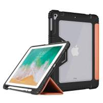Bigphilo [SPA Series] Clear Case for iPad (5th Gen) / iPad (6th Gen) / iPad Air (1st Gen), Vegan Leather iPad Case with Built-in Pencil Holder, Heavy Duty Cover for iPad 9.7 inch 2017/2018, Brown